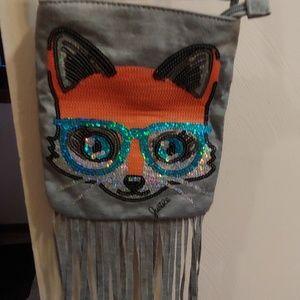 Kids fox fringe purse